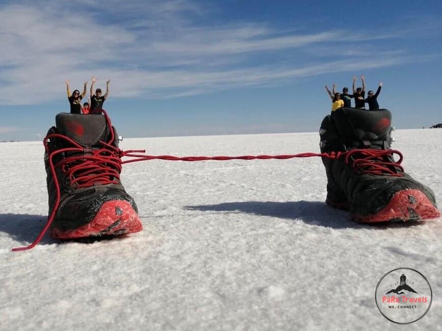 Our customers enjoying the Salt Flats Uyuni Tour