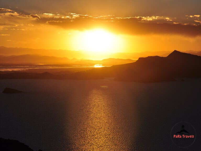 Sunset over Titicaca lake