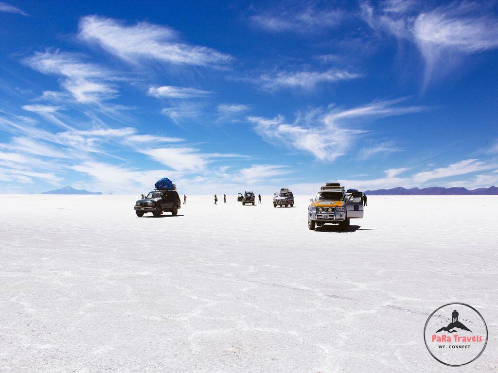 Trucks on salt flat