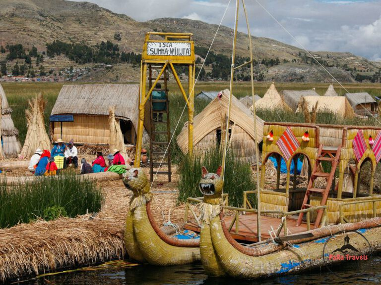 Uros islands man made rafts